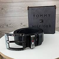 Мужской кожаный ремень Tommy Hilfiger | Брендовый черный ремень на пояс Томми хилфигер в коробке