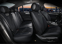 Чехлы 3D с алькантары Elegant Torino на передние и задние сидения автомобиля EL 700 126 черные