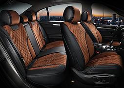 Чехлы 3D с алькантары Elegant Torino на передние и задние сидения автомобиля EL 700 125 коричневые