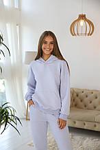 Женский утепленный спортивный костюм с худди и джоггеров, голубой