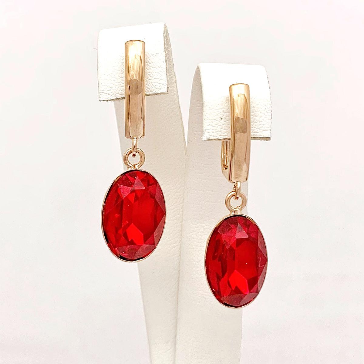 Серьги SONATA из медицинского золота, кристаллы Swarovski ярко-красного цвета, позолота PO, 25173