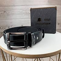 Мужской кожаный ремень Polo Брендовый классический черный ремень на пояс поло с пряжкой в подарочной коробке