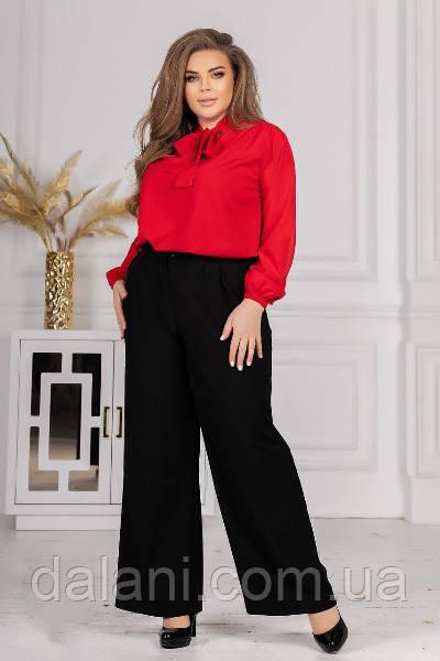 Женский черно-красный костюм из блузы и широких брюк