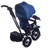 Дитячий триколісний велосипед коляска Baby Trike 6088 з ігровою панеллю і поворотним сидінням Синій, фото 3
