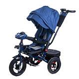 Дитячий триколісний велосипед коляска Baby Trike 6088 з ігровою панеллю і поворотним сидінням Синій, фото 4