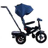 Дитячий триколісний велосипед коляска Baby Trike 6088 з ігровою панеллю і поворотним сидінням Синій, фото 5