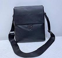 Мужская кожаная сумка через плечо черная Tiding Bag