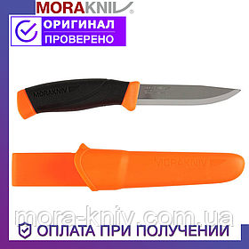 Нож Morakniv Companion F Orange из нержавеющей стали Моракнайв прорезиненная рукоять с оранжевыми вставками