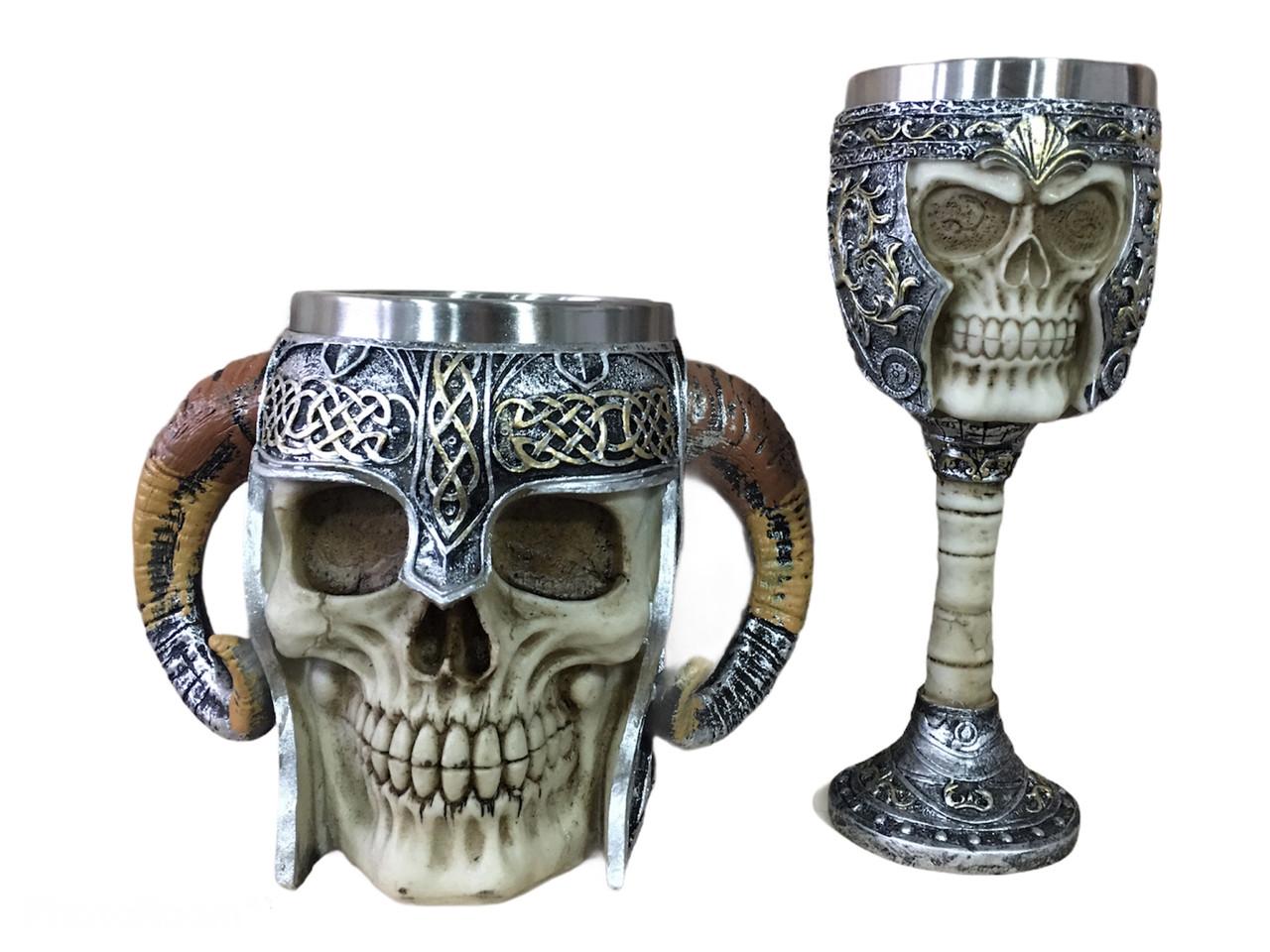 Подарунковий Набір Гуртка Чашка Келих 3D Сатан Череп в Шоломі Подарунок