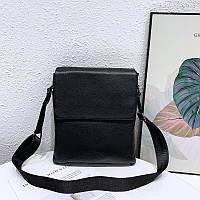 Мужская кожаная сумка-мессенджер TIDING BAG Черная