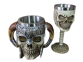 Подарунковий Набір Гуртка Чашка Келих 3D Сатан Череп в Тріщинах Великі Подарунок
