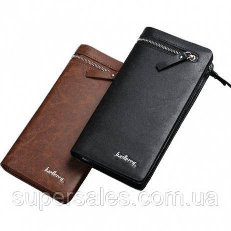 Стильный портмоне Baellerry Italia - мужской кошелек для денег, карточек, телефона Черный
