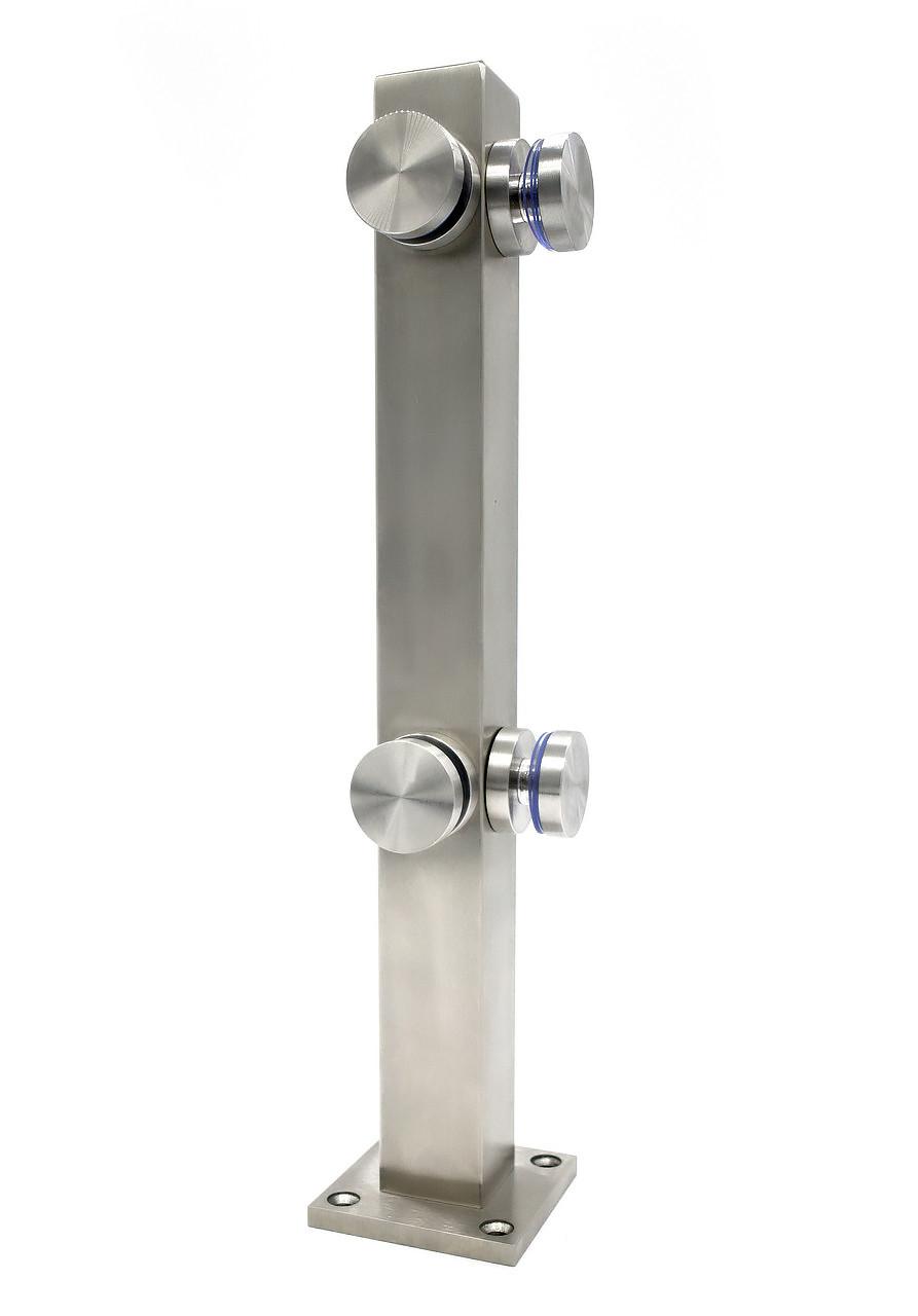 ODF-02-28-01-H400 Стойка для стеклянных перил и ограждений из стекла угловая с коннекторами, сатин