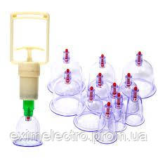 Антицеллюлитные вакуумные массажные банки для здоровья 12 шт с насосом