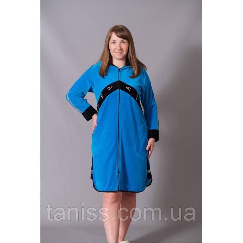 Халат жіночий велюровий великого розміру, на блискавці, до коліна р. 48,50,52,54,56 різні кольори