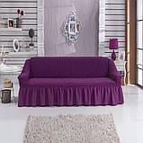 Турецкая накидка на трехместный диван, чехол для дивана с оборкой (Турция), фото 3