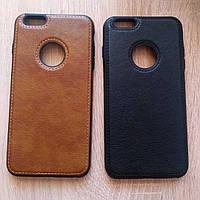 Кожаный чехол бампер TPU для телефона Iphone 7 Plus мужской чохол кожа на айфон 7 плюс чорний накладка