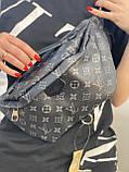 Сумка на пояс бананка Louis Vuitton Луи Виттон, поясная сумка черная с серым, фото 2