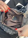 Сумка на пояс бананка Louis Vuitton Луи Виттон, поясная сумка черная с серым, фото 4
