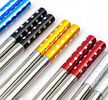 Палички для їжі сталеві кольорові у блістері набір 5 пар, фото 2