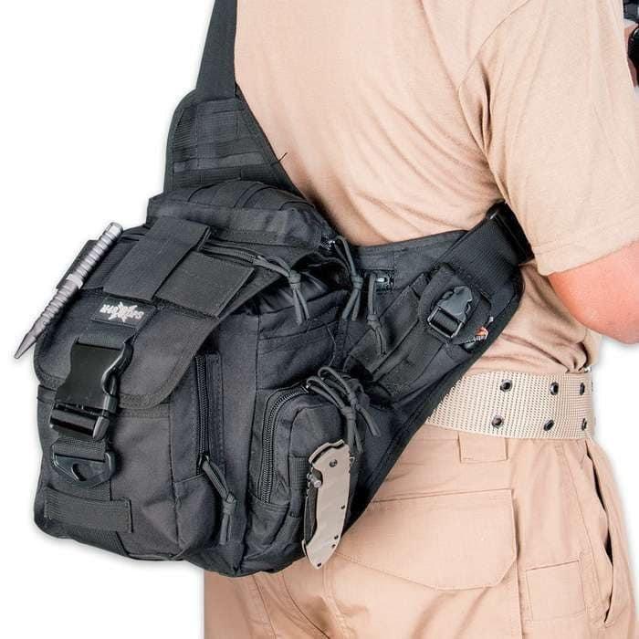 Сумка тактическая через плечо аналог EDC черная, олива