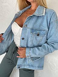 Жіноча джинсова куртка / джинсовці оверсайз блакитна