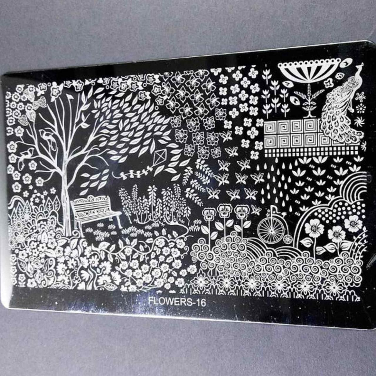 Металические Трафареты для стемпинга Цветы Бабочки - Пластина для стемпинга металл (большой) Стемпинг пластины