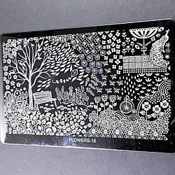 Металеві Трафарети для стемпинга Квіти Метелики - Пластина для стемпинга метал (великий) Стемпинг пластини