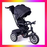 Детский трехколесный велосипед коляска Baby Trike 6188 с надувными колесами и фарой Черный