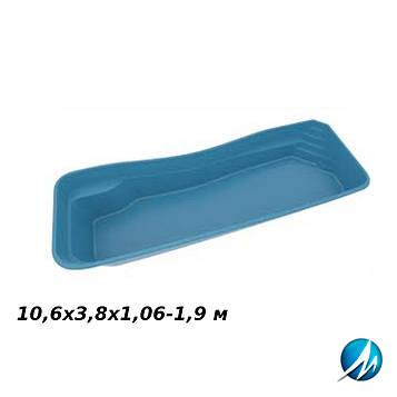 Стекловолоконная чаша RIVERINA 106, 10,6х3,8х1,06-1,9 м