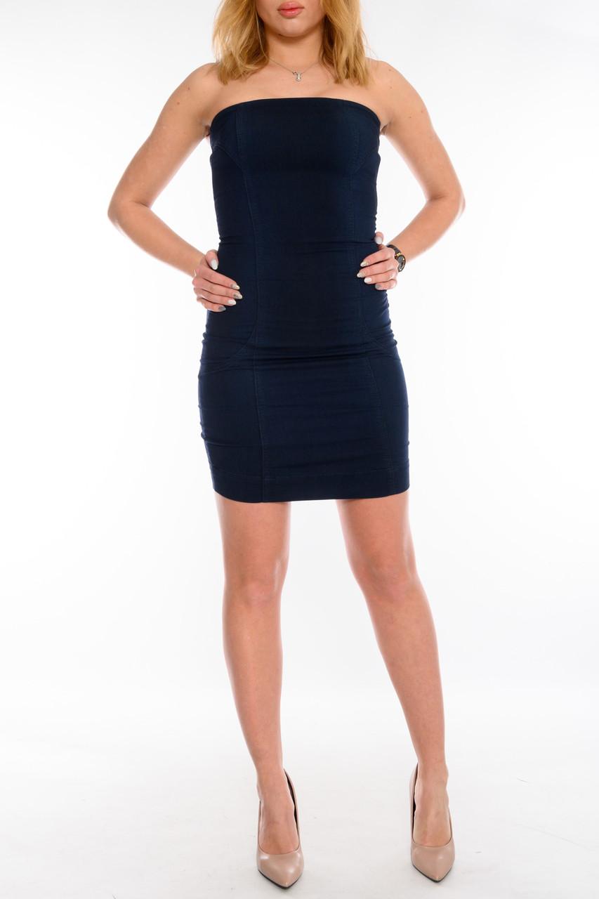 Женский джинзовый Сарафан ОМАТ(Jp166) темно-синий