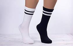 Носки женскиетеннисMontebelloвысокие с двумя полосками 36-40 12 шт в уп белые и черные