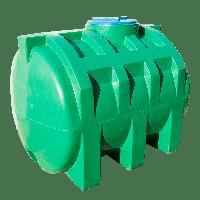Емкость 1000 л горизонтальная двухслойная зеленого цвета