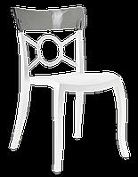 Стул Papatya Opera-S сиденье белое, верх прозрачно-дымчатый
