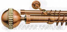 Карниз для штор АВЕЯ подвійний 25+19 мм 1.6 м, Колір Мідь