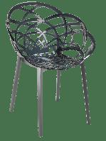 Кресло Papatya Flora прозрачно-дымчатое сиденье, низ антрацит