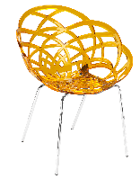 Кресло Papatya Flora-ML прозрачно-желтое сиденье, ножки хром