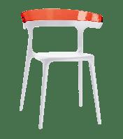 Кресло Papatya Luna белое сиденье, верх прозрачно-красный