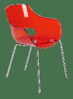 Кресло Papatya Opal прозрачно-красное, база хром