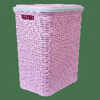 Корзина для белья под ротанг 56 л розовая