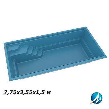 Стекловолоконная чаша Aqua Nova 77, 7,75х3,55х1,5 м