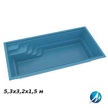 Стекловолоконная чаша Aqua Nova 53, 5,3х3,2х1,5 м