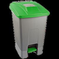 Бак для мусора с педалью Planet 100 л серо-зеленый