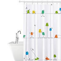 Тканевая штора для душа Tatkraft Funny Frogs водонепроницаемая с кольцами 12 шт 180X180 см (18099)