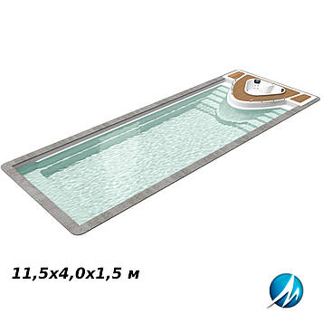 Стекловолоконная чаша Yacht pool, 11,5х4,0х1,5 м