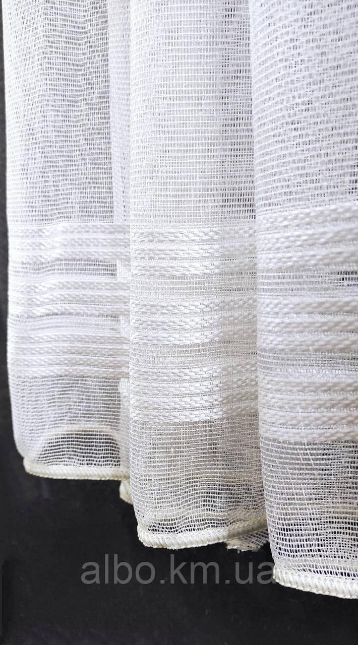 Гарний тюль з льону білого кольору на метраж, висота 2.8 м (1698 V-104)