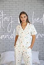 Домашний костюм-пижама, сатин в перья, рубашка и штаны
