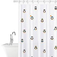 Тканевая штора для ванной комнаты с кольцами 12 шт Tatkraft Funny Penguins 10482