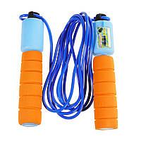 Спортивная скакалка со счетчиком, оранжево-голубой