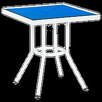 Стіл Tilia Kobe 60x60 см стільниця зі скла білий - блакитний